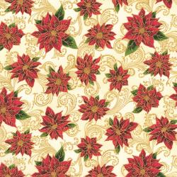 2711-001 Holiday Accents Classics - Poinsettia Swirl - Cream Metallic Fabric