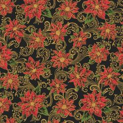 2711-002 Holiday Accents Classics - Poinsettia Swirl - Black Metallic Fabric