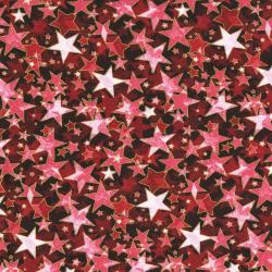 2712-001 Holiday Accents Classics - Starburst - Red Metallic Fabric