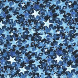 2712-002 Holiday Accents Classics - Starburst - Navy Metallic Fabric
