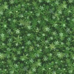 2713-002 Holiday Accents Classics - Falling Snow - Green Fabric