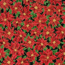2777-001 Holiday Accents Classics - Poinsettia - Black Metallic Fabric