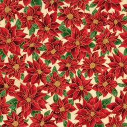 2777-002 Holiday Accents Classics - Poinsettia - Cream Metallic Fabric