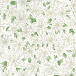 2777-003 Holiday Accents Classics - Poinsettia - White Metallic Fabric