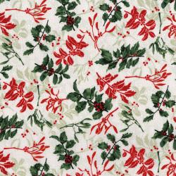 3489-001 Let It Sparkle - Holly Berry - Radiant Silver Sage Metallic Fabric