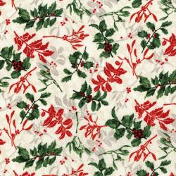 3489-002 Let It Sparkle - Holly Berry - Radiant Winter White Metallic Fabric