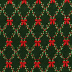 3490-002 Let It Sparkle - Bows And Holly - Radiant Pine Metallic Fabric
