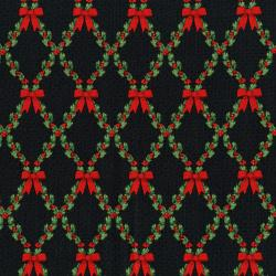 3490-004 Let It Sparkle - Bows And Holly - Radiant Black Metallic Fabric