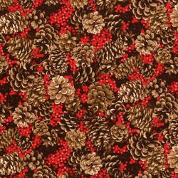 3153-001 Merry, Berry, & Bright - Pine Cones Aplenty - Radiant Berry Metallic Fabric