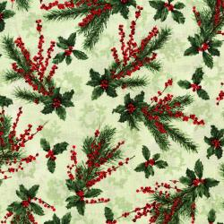 3155-001 Merry, Berry, & Bright - Holly Jolly - Radiant Sage Metallic Fabric