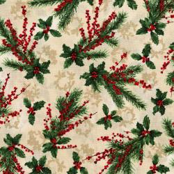 3155-002 Merry, Berry, & Bright - Holly Jolly - Radiant Vanilla Metallic Fabric