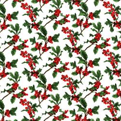 3156-001 Merry, Berry, & Bright - Boughs Of Holly - Radiant Noel Metallic Fabric