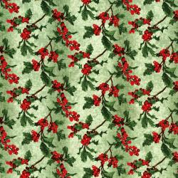 3156-002 Merry, Berry, & Bright - Boughs Of Holly - Radiant Sage Metallic Fabric