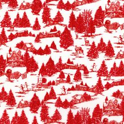 3158-001 Merry, Berry, & Bright - Frosty Morning - Radiant Cherry Metallic Fabric