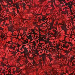 RJ1002-CR2B Nature Walk - Woodcut Floral - Cranberry Batik Fabric