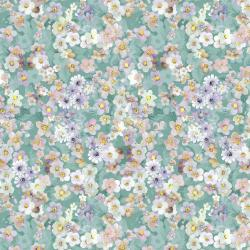 RJ2905-TE2D Peacock Walk - Flower Bed - Teal Digiprint Fabric