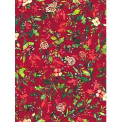 RJ404-CR1D Pineview - Festive Flora - Cranberry Digiprint Fabric
