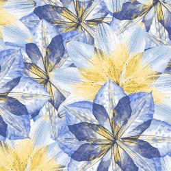 RJ2400-BB1 Pressed Floral - Kaleidoscope Floral - Blue Bird Fabric