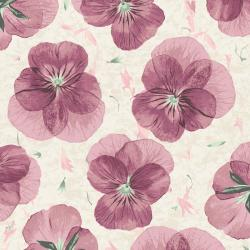 RJ2401-RO4 Pressed Floral - Pansy Paper - Rosewood Fabric