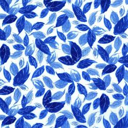 3278-001 Rose Hutch - Leafty Blues - Delft Fabric