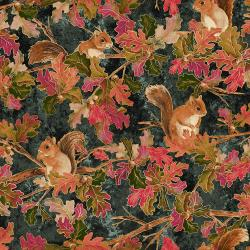 RJ700-SL2M Shades of Autumn - Woodland Friends - Slate Metallic Fabric