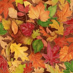 RJ701-AM1M Shades of Autumn - Colorful Foliage - Amber Metallic Fabric
