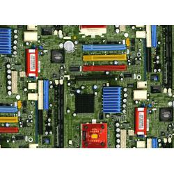 2954-001 Silver Circuits - Motherboard - Green Metallic Fabric