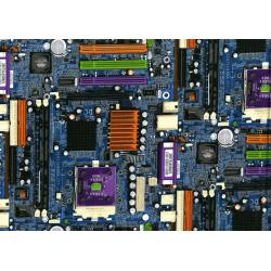 2954-002 Silver Circuits - Motherboard - Blue Metallic Fabric