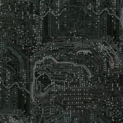 2956-001 Silver Circuits - Traces - Black Metallic Fabric