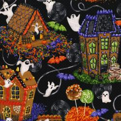 3107-001 Spooky Snacks - Treat Street - Midnight Fabric