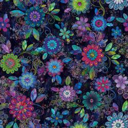3630-001 Starlight & Splendor - Rhapsody in Bloom - Moonlit Digiprint Fabric