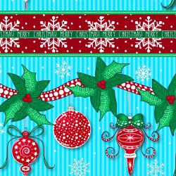 2734-002 Christmas Wishes - Festive Festoon - Morning Sky Fabric