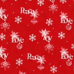 2736-001 Christmas Wishes - Wrapping Paper - Holiday Red Fabric