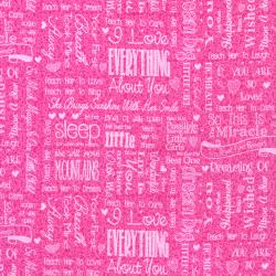 2660-001 First Words - Words - Deep Pink Fabric