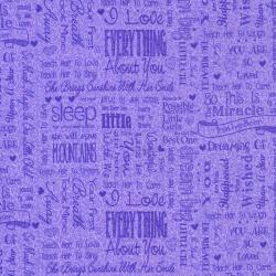 2660-002 First Words - Words - Deep Lavander Fabric