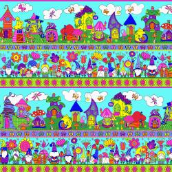 SM401-CY1 Garden Gnomes - Gnome Home - Cyan Fabric