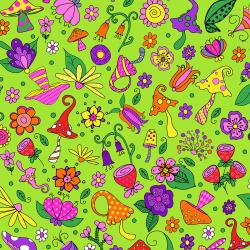 SM403-GR3 Garden Gnomes - Forest Floor - Green Fabric