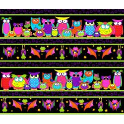 3122-001 Happy Owl-O-Ween - Parliament Of Owls Border Stripe - Bat Black Fabric