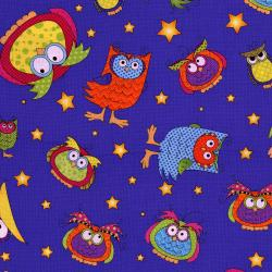 3123-002 Happy Owl-O-Ween - Owls Everywhere Toss - Midnight Blue Fabric