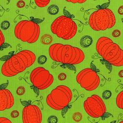 3124-001 Happy Owl-O-Ween - Pumpkin Patch - Goulish Green Fabric