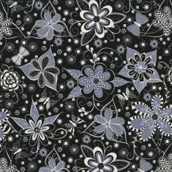 2461-002 Ink Blossom - Black Fabric
