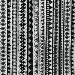 3387-001 Llama Llama Bo Bama - Stripe - Black & White Fabric