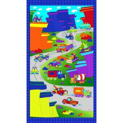 3027-001 Monster Trucks - Truck Monster On The Road Panel - Zaffre Blue Fabric