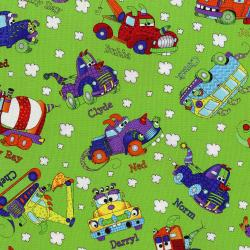 3030-001 Monster Trucks - Truck Toss - Slime Green Fabric