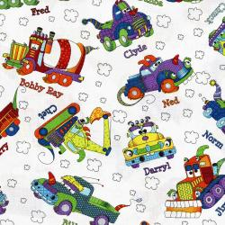 3030-003 Monster Trucks - Truck Toss - White Fabric