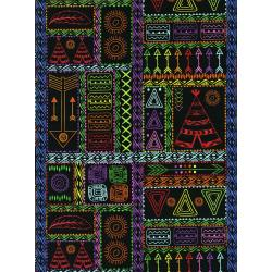 3330-001 Pow Wow Wow! - Patchwork Symbols - Bright Black Fabric