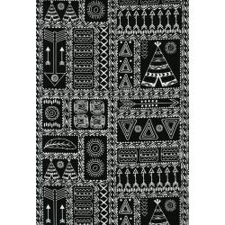 3330-002 Pow Wow Wow! - Patchwork Symbols - White Black Fabric