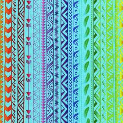 3332-002 Pow Wow Wow! - Stripe - Bright Cyan Fabric