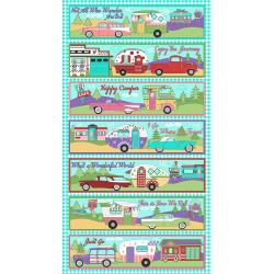 3617-001 Retro Road Trip - Camper Panel - Aqua Fabric