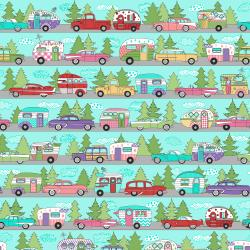 3618-001 Retro Road Trip - Camper Stripe - Aqua Fabric